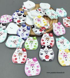 Lot de 5 boutons bois chat chinois : Boutons par broderiesab