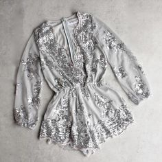 reverse - life of the party sequin romper - silver - shophearts - 1