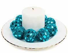 decorating turquoise vases   Turquoise Glittery Mirrored Decorative Balls Package of 10