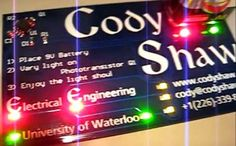 Electrical engineering student Cody Shaw designed a unique business card that showcases his skills and lights up when powered.