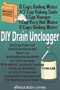 Drainage solutions that will unclog a slow drain and use natural ingredients. The drain unclogger recipe uses non-toxic ingredients you probably already have around the house. All you need is boiling water baking soda and vinegar. Homemade Cleaning Supplies, Household Cleaning Tips, Cleaning Recipes, House Cleaning Tips, Cleaning Hacks, Diy Cleaners, Cleaners Homemade, All You Need Is, Slow Drain