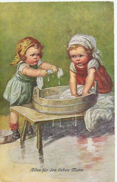 Wally Fialkowska Girls washing Clothes in Washtub Retro Kids, Vintage Greeting Cards, Vintage Postcards, Vintage Pictures, Vintage Images, Vintage Illustration, Vintage Laundry, Baby Clip Art, Decoupage Vintage