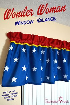 Wonder Woman Window Valance Sewing Craft Tutorial for My Craft Room Reveal #wonderwoman #sewing #curtain