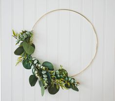 This gold hoop wreath features a burst of delicate greenery and it would make a great addition to a nursery or used in a photo shoot! It has a boho vibe and is a dainty piece for your home. This item is one of a kind, and is the item as-shown, ready to ship. I post wreaths as I create them, and