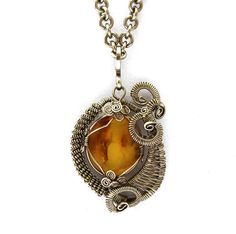 Wire Wrap Honey Necklace with Amber stone