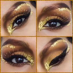 A closer look at my latest Halloween makeup tutorial using Makeup Geek Vegas lights palette and pigments that came with the palette- a golden goddess! Link of my youtube is on my bio, enjoy! :) #halloween #makeup #beauty #gold #goldengoddess #halloweenideas #youtube #makeupgeek #eyeshadow #EyeMakeupGold