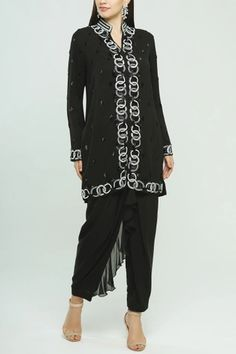 Buy Embroidered Kurta Set by Neeta Lulla at Aza Fashions Drape Pants, Neeta Lulla, India Usa, Mandarin Collar, Sequins, Indian, Fabric, Sleeves, Stuff To Buy