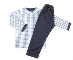 GABY:Pijama blue pants and check.