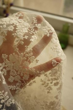 Beige Wedding Fabric French Embroidered Lace Bridal by fabricmade