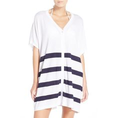Women's Tommy Bahama Stripe Cover-Up Cardigan ($128) ❤ liked on Polyvore featuring tops, cardigans, white top, oversized cardigan, drape cardigan, half sleeve cardigan and drapey cardigan