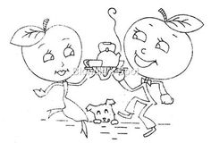 McCall 593 Animated, Anthropomorphic Apples for Dish towels, a 1940s hand embroidery pattern.