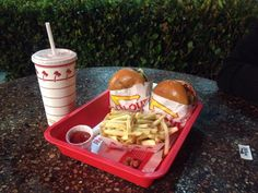 typical American meal . the best burger . In & Out.