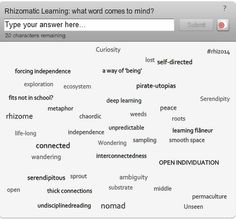 Growing Rhizomes | Free Range Pen a way to view the rhizome of rhizomatic learning, type your word and see it grow