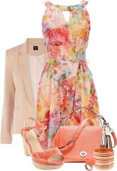 Flowery dress with orange shoes and beige jacket