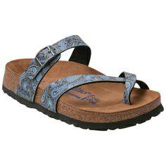 Blue Birkenstock Women's Papillo Tabora Paisley Flat Sandal shoes