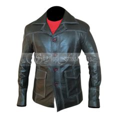 Fight Club Bred Pit Black Leather Coat  is made of soft synthetic leather.This leather jacket is design a movie name is fight club & the movie release in 1999 but we design the modern way like the white like In the black jacket.
