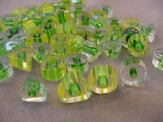 Destash Beads Yellow Green Cane Glass beads 66 pcs Triangle and Round Furnace glass beads destash by Magicclosetbling on Etsy