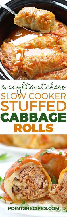 Slow Cooker Stuffed Cabbage Rolls (Weight Watchers SmartPoints)