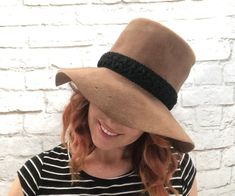 5f522d2cf85b71 Vintage 70s Velvet Felt Floppy Hat Fedora Taupe Black Hat Band Saks Fifth  Ave