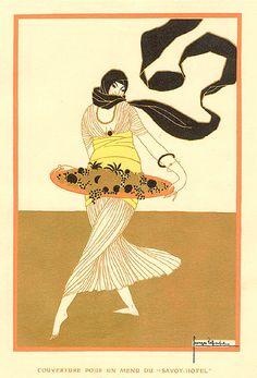 Georges Lepape, Art et Decoration, Design for a Menu Cover, 1913