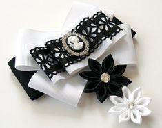 Lazo de damas tela pin broche. Blanco y negro pajarita de