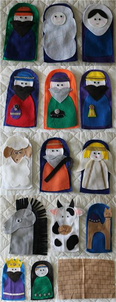 Every year for our church Christmas party the children dress up and act out the nativity. To streamline the process, we decided to do a puppet show. Using some finger puppets as inspiration, I came. Nativity Crafts, Christmas Nativity, Kids Christmas, Felt Puppets, Felt Finger Puppets, Operation Christmas Child, Bible Crafts, Felt Crafts, Church Crafts