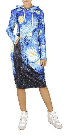 930f0d8b7a01b QZUnique Womens 3D Starry Night Print Pullover Hoodie Long Length Fleece  Sweat Dress US SM
