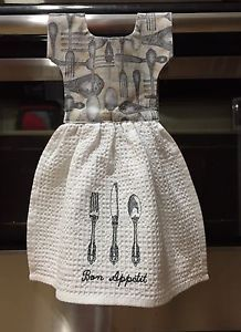 Oven Door Towels Hand Made Kitchen Towel with Embroidered Bon Appetite and Silverware on Towel. Brand New Colors: White Towel, Fabric on top is Utensils Silverware . Great for a Gift !!!!!! Towel is 2 Sided, Both sides can be used (Embroidered Bon Appetite and Utensils is only on one side)