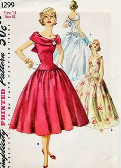 Beautiful 1950s Evening Dress or Gown Pattern Simplicity 1299 Flattering Portrait Collar Very Full Skirt Stunning Design Bust 32 FACTORY FOLDED