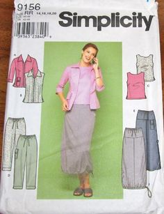 Simplicity Sewing Pattern 9156, Drawstring Hem Skirt, Cargo Pants, Zip Front Jacket, Sleeveless Top, Women Misses Size 14 16 18 20, Bust 36 38 40 42, Uncut Factory Folds by RosesPatternsEtc on Etsy