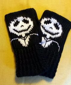Fingerless Gloves Wrist Warmers Nightmare Before by LachesisWeb