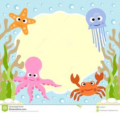 Illustration about Sea animals cartoon background card. Illustration of cartoon, beach, design - 31284672 Adobe Illustrator, Under The Sea Background, Cartoon Sea Animals, Animals Sea, Under The Sea Theme, Cartoon Background, Ocean Themes, Happy Birthday Cards, Preschool Crafts