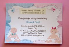 NEW Twin Boy and Girl Baby Shower Invitations by lindsayisartsy, $16.20