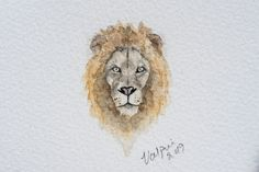 Brave Like a Lion original watercolour painting | unique aquarelle | small watercolour | loose painting | minimalistic animal aquarelle Like A Lion, Zen Art, Paper Dimensions, Surface Pattern Design, Watercolour Painting, Beautiful World, Really Cool Stuff, Photo Art, Brave