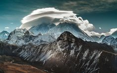 mountains clouds landscapes nature snow rocks blue skies  / 1920x1200 Wallpaper