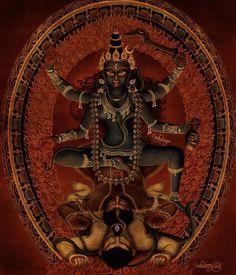 Kali Goddess of war, destruction, as well as enlightenment. Kali Hindu, Hindu Art, Kali Tattoo, Mother Kali, Tantra Art, Kali Mata, Shiva Art, Shiva Shakti, Kali Goddess