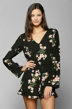 urban Outfitters floral romper....so cute with a floppy hat and strap on sandals!