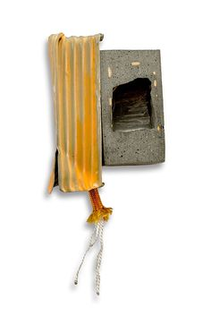 Demi Thomloudis Brooch: HT Side by Side, 2014 Nickel silver, cement, sterling silver, pigment,resin, nylon cord