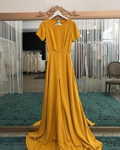 Love this marigold Sarah Seven gown Yellow Wedding Dress, Yellow Gown, Best Wedding Dresses, Long Yellow Dress, Mustard Bridesmaid Dresses, Yellow Bridesmaids, Sarah Seven, Fall Dresses, Summer Dresses