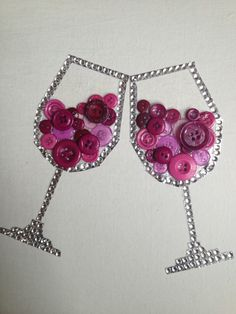 Cheers! Wine glass button art.  by Kristin Hebner