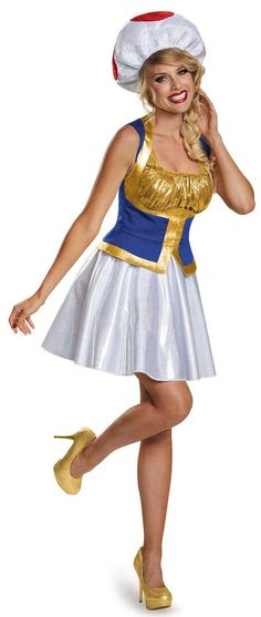 Impressive Super Mario Bros: Toad Female Adult Costume Plus. A grand collection of Super Mario Costumes for Halloween at PartyBell. Princess Peach Halloween Costume, Theme Halloween, Halloween Costumes, Halloween Ideas, Women Halloween, Princess Daisy Costume, Halloween Cubicle, Peach Costume, Group Halloween