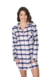 da64ebb3b6 US Polo Assn Womens Button Down Long Sleeve Cotton Flannel SleepShirt  Cerise Large White Plaid