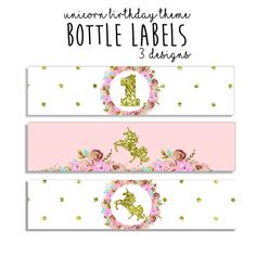 Unicorn Water Bottle Labels - Unicorn Party Water Bottle Wrappers - Unicorn birthday decorations - first birthday girl blush pink and gold Unicorn Birthday Decorations, Paper Party Decorations, Butterfly Birthday Party, Birthday Diy, Unicorn Birthday Parties, Unicorn Party, First Birthday Parties, First Birthdays, Unicorn Water Bottle
