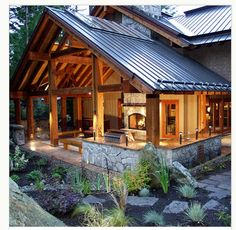 outdoor living: interesting how the outdoor roof is separate from the main house roof... might be a great way to add on in future or keep costs lower?