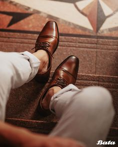 Shiny brown leather men's oxfords add a touch of sophistication to any outfit. Bata Shoes, Men's Shoes, Dress Shoes, Men's Oxfords, Loafers, Leather Men, Brown Leather, Kinds Of Shoes, Shoe Collection