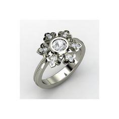 Snowflake Ring Round White Sapphire 14K White Gold Ring with Diamond found on Polyvore