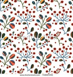 seamless pattern with colored leaves and berries