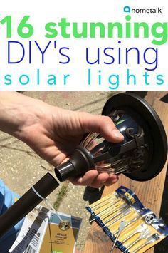 Brighten up your life with these wonderful solar lighting projects! light crafts diy projects 16 Stunning Ways For You To Add Solar Lighting To Your Backyard Backyard Solar Lights, Backyard Lighting, Outdoor Lighting, Lighting Ideas, Outdoor Decor, Solar Pathway Lights, Outdoor Walkway, Outdoor Chandelier, Lighting Design