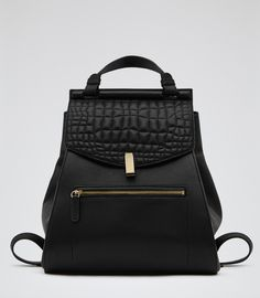 Womens Black Quilted Leather Rucksack - Reiss Alto