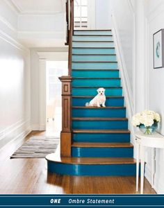 Three Ways To DIY A Colourful Blue Staircase Basement Stairs, Paint Stairs, Stairway Paint Ideas, Staircase Painting, Staircase Ideas, Decorating Staircase, Decorating Ideas For The Home Hallway, Stairs And Hallway Ideas, House Ideas On A Budget